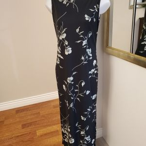 Black Floral Maxi Dress M-L 36-37 bust.